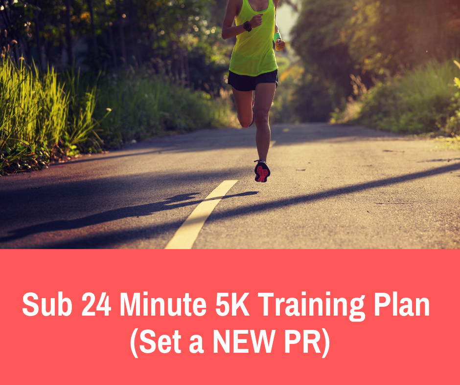 This 5K training plan is designed for runners who are looking to finish at a time under 24 minutes. It's designed for runners who are finishing 5K's under 27-25 minutes already but need a little extra structure and guidance to get to the next level.
