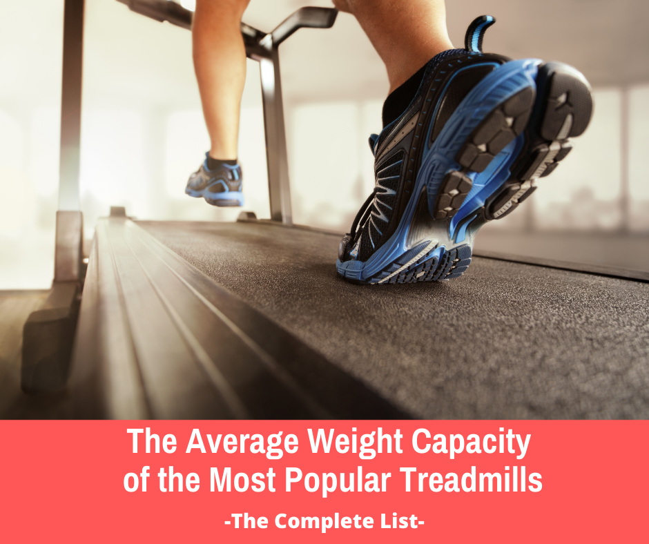 The average weight capacity of a treadmill is 325 pounds, the average falls between 250 and 400 lbs. Many of the treadmills with a higher horsepower motor and a larger frame have a higher weight capacity. Most commercial use treadmills are designed to hold more weight and have a wider belt versus most residential treadmills.